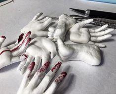 surreal weird creepy unusual erotic medical oddities by Linggo Horror Decor, Horror Art, Creepy Art, Weird Art, White Lace Choker, Weird Jewelry, Macabre Art, Contemporary Sculpture, Anatomy Art