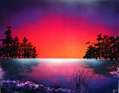 Spray Paint Art Original Sunset over Water Landscape by EacArt