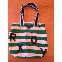 """Selling this """"Green and White Stripes Shoulder Roxy Bag"""" in my Poshmark closet! My username is: oops623. #shopmycloset #poshmark #fashion #shopping #style #forsale #Roxy #Handbags"""