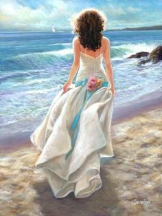 : Foto, Down By The Sea / Pinturas al óleo de Andrei Belichenko. Painted Ladies, Woman Painting, Figure Painting, Artist Painting, Beach Art, Beautiful Paintings, Female Art, Art Photography, Art Gallery