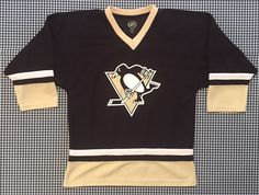 Pittsburgh Penguins Youth Replica Hockey Jersey Size Large Black NHL Crosby Pens #NHL #PittsburghPenguins
