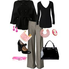 Office Wear with a Pop of Pink, created by colorware on Polyvore