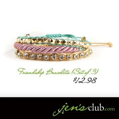 Friendship Bracelets (Set of 3) From Regal     A colourful set of fabric bracelets in three soft shades, with gold acrylic studs and glass rhinestone accents. Blue and gold bracelets have adjustable slide knot closure; purple bracelet has lobster clasp closure.   Product Number  - JC1012