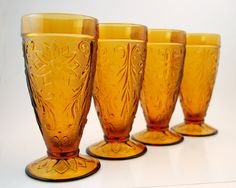 Four Vintage Amber Glass Tumblers Footed Iced by TheBasementVault