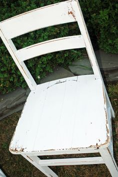 Pair of Vintage Farmhouse White Distressed Wooden Chairs