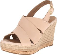 Clarks Womens Amelia Dally Nude Leather Sandal 7 B M ** Click on the image for additional details.