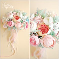 1.Christine paper design - wedding bridal bouquet, shaby chic flowers