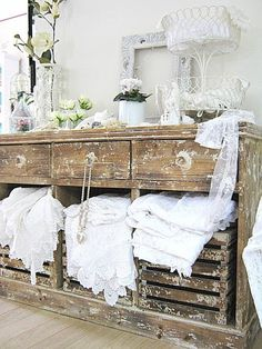 Cottage -  Vintage Storage ~  White on White.