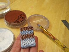 """Creator's Joy: How to knit with fimo yarn! A DIY polymer clay pattern tutorial, or """"how to do argyle the easy way!"""""""