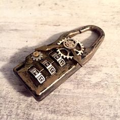 Steampunk Gadget Combination Lock 3 Digit Code Purse #CombinationLock #Lock #PadLock #Steampunk #SteampunkGadget #Gadget #Gears #postapocalyptic