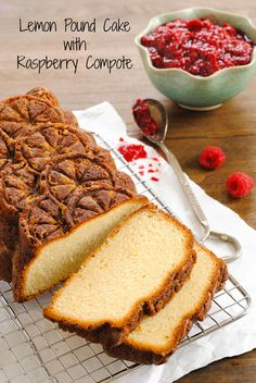 Lemon Pound Cake with Raspberry Compote - A stunning pound cake with a triple shot of lemon flavor, served with a quick raspberry sauce.   foxeslovelemons.com