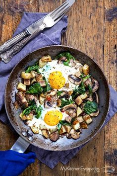 Breakfast Skillet – Eggs, Spinach and Mushrooms