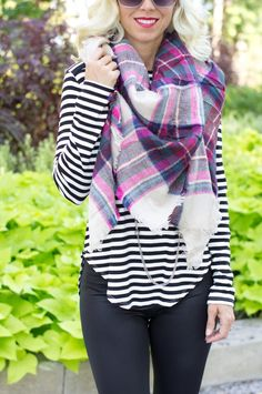 """55"""" x 55"""" Acrylic Scarf. Shown paired with Black Striped Casual Top Shown paired with Mauve tunic *All items ship USPS first class from Edwardsville, Illinois 1-2 business days from purchase. * If for"""