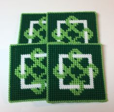Emerald Green Celtic Pattern Coasters - Set of 4