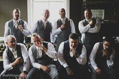 Brandi & Brad's Glasshouse Bistro Wedding. Groom, Groomsmen, Bridal Party, Cigars, Men & Cigars
