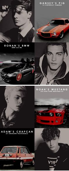 The gang + cars (gansey - ronan - noah - adam)
