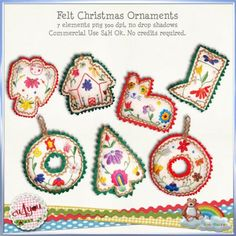 felt embroidered ornaments