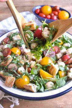 Caprese Panzanella Pre Cooked Chicken, Chicken Sausage, How To Cook Chicken, Sausage Bread, Large Salad Bowl, Salad Bowls, Fresh Mozzarella, Arugula, Cherry Tomatoes