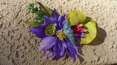 Flower Hair clip Purple and Green with Hand Painted Seashells and faux Pearls , Hawaii, Tiki, Pin Up, Beach, Summer, Tropical, OOAK!!! by princessmadisonparis on Etsy