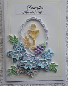Quilling Craft, Quilling Designs, Paper Quilling, Première Communion, First Communion, Quilling Techniques, Crochet Tablecloth, Diy Cards, Christening