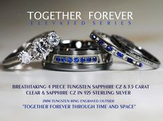 Breathtaking 4 Piece Doctor Who Inspired 8mm Sapphire Tungsten + 925 Sterling Silver 3.5 Carat Brilliant Cut & Sapphire CZ Wedding Ring Set,