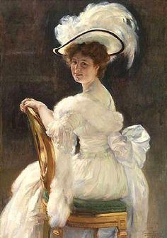▴ Artistic Accessories ▴ clothes, jewelry, hats in art - Herman Richir | Portrait de Germaine Le Blon