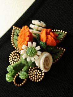 Felt flower and zipper corsage by woolly  fabulous, via Flickr  - Cute for an informal dance :)