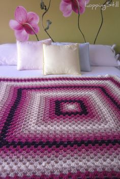 Beautiful colours in this big granny square by Tais of Hopping Still