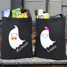 Personalized Halloween Trick or Treat Ghost Bag