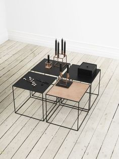 Modern and contemporary Danish and Scandinavian style Copper and Metal Side Tables. rosegold