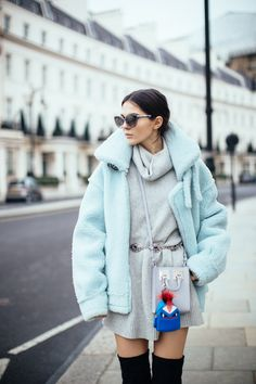 Oversized aviator jacket outfit with thigh high boots by Doina Ciobanu #TGDstyling