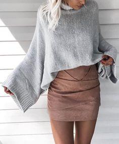 #fall #fashion ·  Grey Oversized Sweater + Camel Skirt