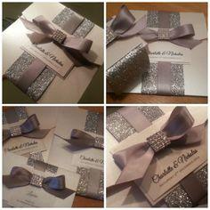 Luxury Handmade sparkle and glitter wedding invitation sample - 'Diva' on Etsy, £4.50