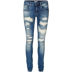 Vero Moda Gambler Low Waist Slim Fit Jeans ($74) ❤ liked on Polyvore featuring jeans, pants, bottoms, ripped jeans, slim cut jeans, blue slim jeans, stretch jeans and distressing jeans