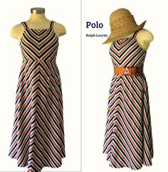 Cotton Knit Chevron Striped Petite Sundress // Vintage Polo Ralph Lauren Plaid Pencil Skirt, Straight Skirt, Christmas Fashion, Flare Dress, Polo Ralph, Fashion Photo, Fit And Flare, Summertime, Chevron