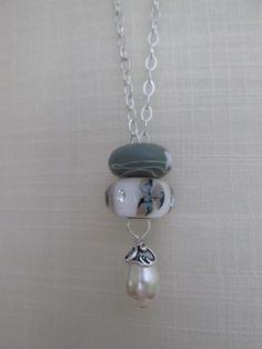 fantasy necklace ivory pearl Swarovski sterling silver chain European bead charms like troll