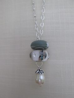 fantasy necklace ivory pearl Swarovski sterling silver chain European bead charms like troll