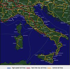 Resultado de imagen para mapas de italia con ciudades distancias y redes de transportes