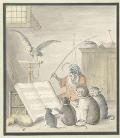 Interieur met kattenconcert, Cornelis Saftleven, 1620 - 1715