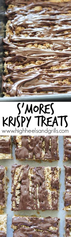 Smores Krispy Treats Recipe - Made from graham cracker crumbs instead of cereal. They taste just like a smore! Such a fun and easy, no bake, summer treat. http://www.highheelsandgrills.com/smores-krispy-treats/