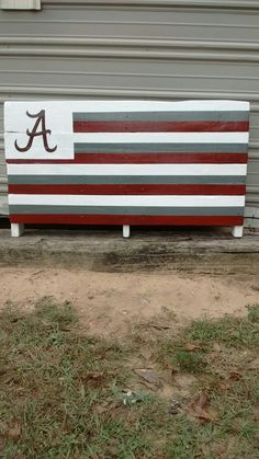 """$50 48"""" X 22"""" Made from refurbished pallet wood, this Alabama yard sign is nice enough for any Bama fan! Roll Tide!"""