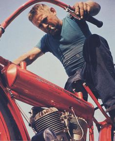 Steve McQueen on Motorcycle by Unknown Artist