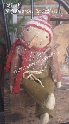 Primitive Snowman Doll Elliot Epattern Instant by libertycreek Primitive Christmas Decorating, Primitive Country Christmas, Prim Christmas, Primitive Snowmen, Primitive Crafts, Christmas Crafts, Christmas Ideas, Antique Christmas, Primitive Doll Patterns