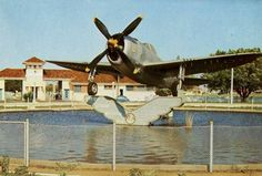 The P-47 used by FAB in Italy, in 1944, now gracing the entrance of Campo Grande in Brazil