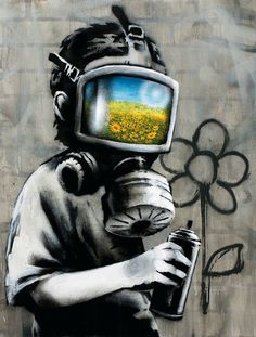 Banksy canvas Gas Mask Boy Street Art Grafitti print – Graffiti World Banksy Graffiti, Street Art Banksy, Banksy Canvas, 3d Street Art, Amazing Street Art, Street Artists, Amazing Art, Bansky, Graffiti Quotes
