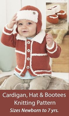 Baby and Child Knitting Pattern Cardigan, Hat & Bootees Sirdar 1476 Matching cardigan, aviator/trapper style earflap hat, and cuffed booties in baby and child sizes. Knit in seed stitch with snowflake yarn trim. Carigan and hat sizes: 0-6 Months, 6-12 Months, 1-2 Years, 2-3 Years, 4-5 Years, 6-7 Years. Bootees sizes: 0-6 Months, 6-12 Months, 1-2 Years. DK weight yarn. Designed by Sirdar. Seed Stitch, Dk Weight Yarn, Sweater Knitting Patterns, Security Blanket, Hat Sizes, Baby Hats, Booty, Children, Sweaters