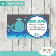 blue and grey printable whale diaper raffle game cards baby shower