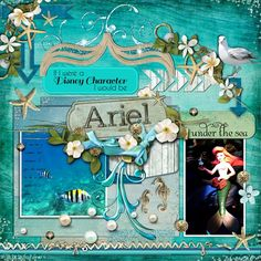 Disney Scrapbook Page Layout  - Ariel by Sharon Albright - Isn't this a gorgeous page?