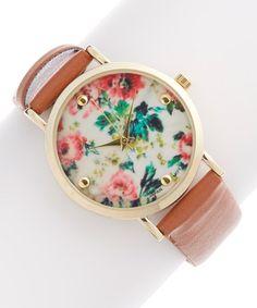 Another great find on #zulily! Cognac & Pink Floral Watch #zulilyfinds