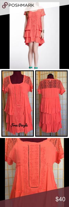 "Free People Coral Sunbeam Dress Dress is beautiful color with lots of details. 32.5"" long. Unfinished look. Never worn. Excellent condition. Free People Dresses Mini"